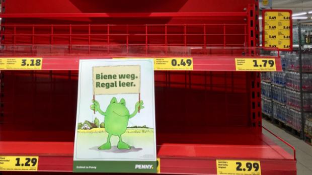 Völlig leer: So sieht ein Supermarkt ohne Bienen-Produkte aus